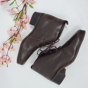 Vtg 80s Brown Leather Granny Boots Lace Up 7.5 N